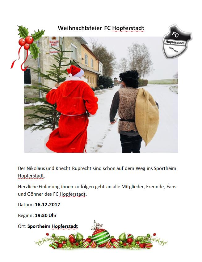 Der Nikolaus und Knecht Ruprecht sind schon auf dem Weg ins Sportheim Hopferstadt