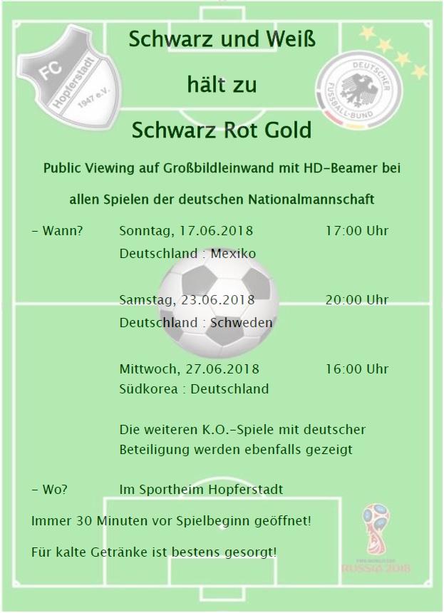 WM 2018 - Public Viewing im Sportheim