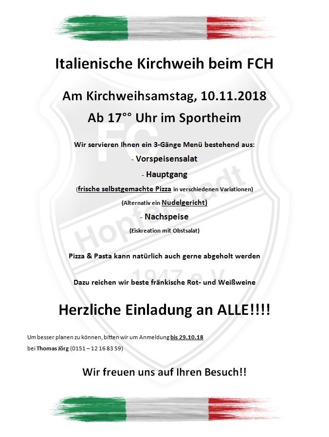 Kirchweih-Essen & italienischer Abend beim FC Hopferstadt 2018